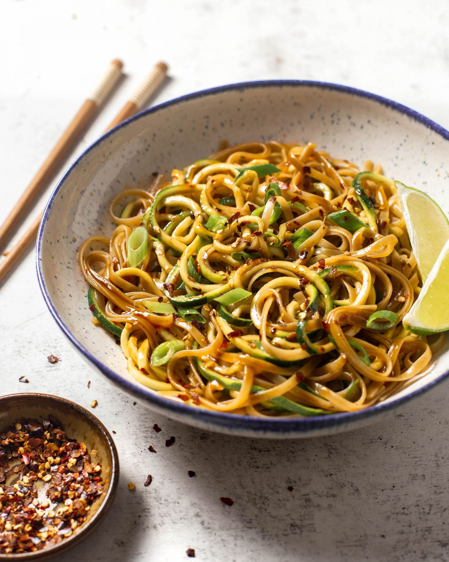 10-Minute Chili Garlic Brown Rice Noodles & Zoodles