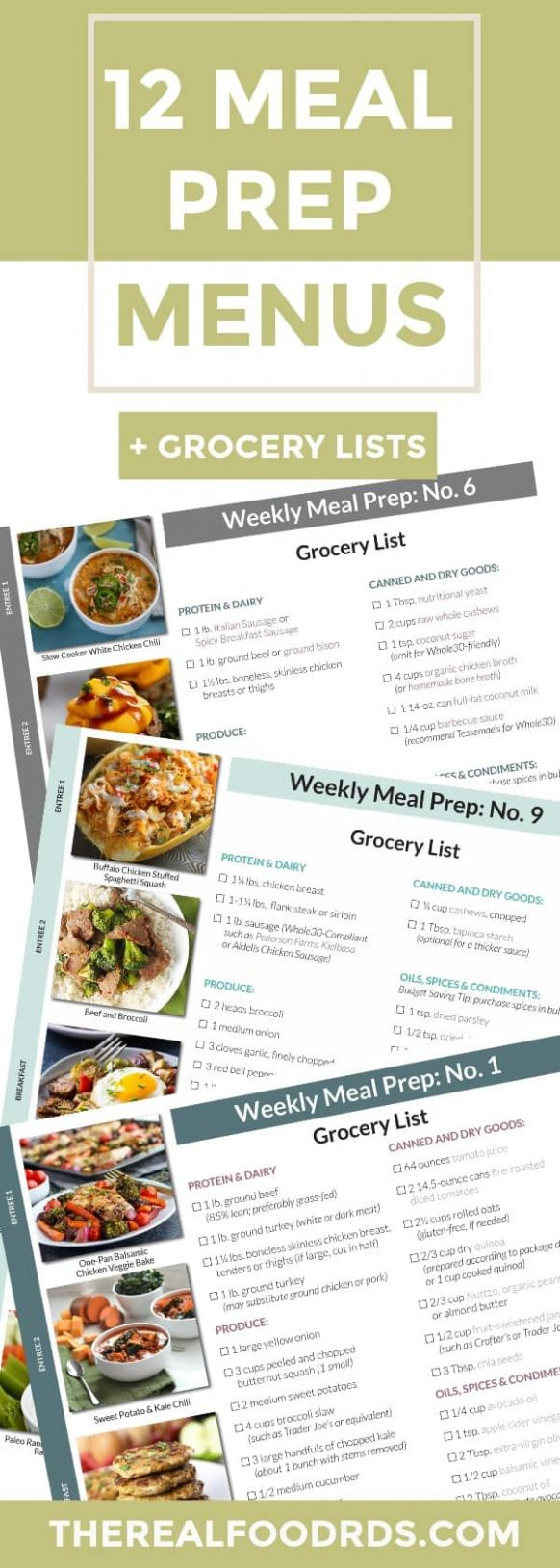 11 Meal Prep Menus + Grocery Lists - The Real Food Dietitians - Meal Prep Recipes For Weight Loss Grocery List