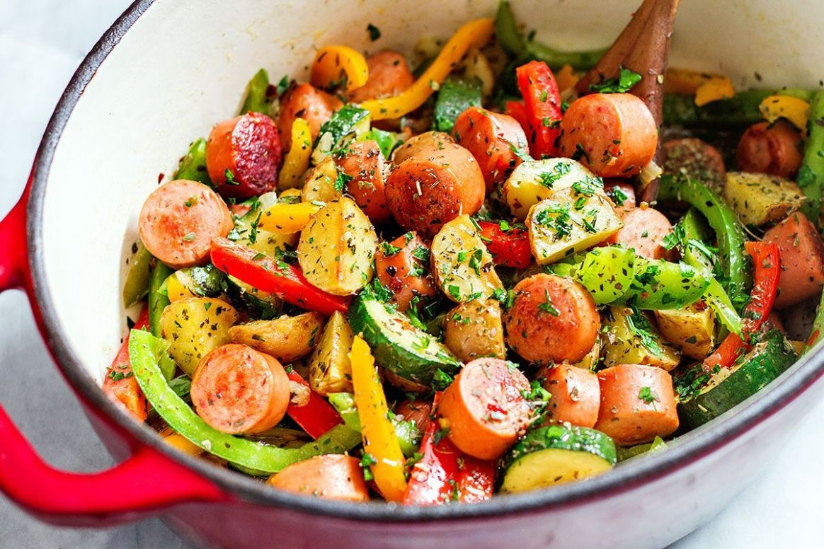 11-Minute Healthy Sausage and Veggies One-Pot - Healthy Recipes Vegetables
