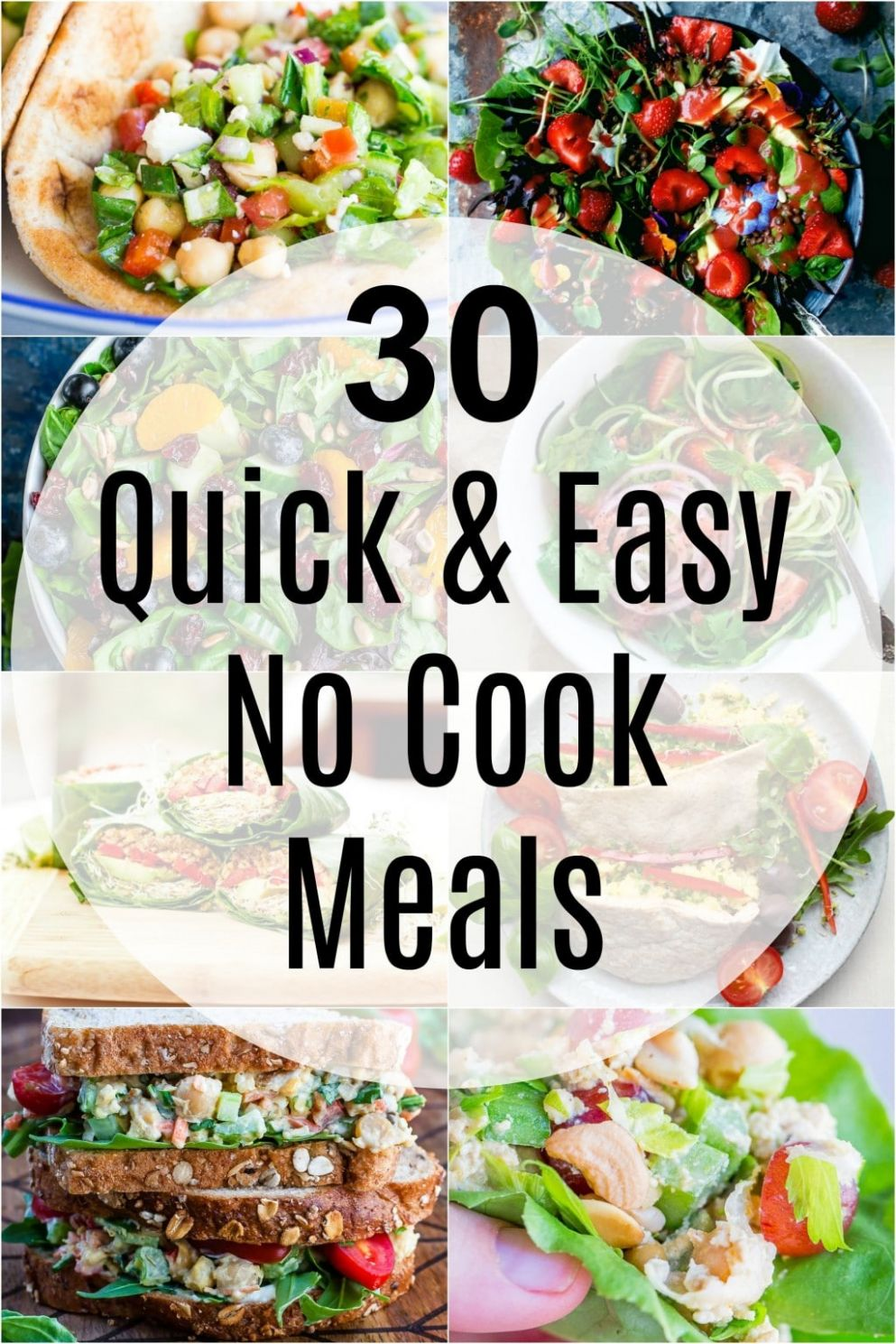 11 Quick and Easy No Cook Meals - She Likes Food - Summer Recipes No Cooking