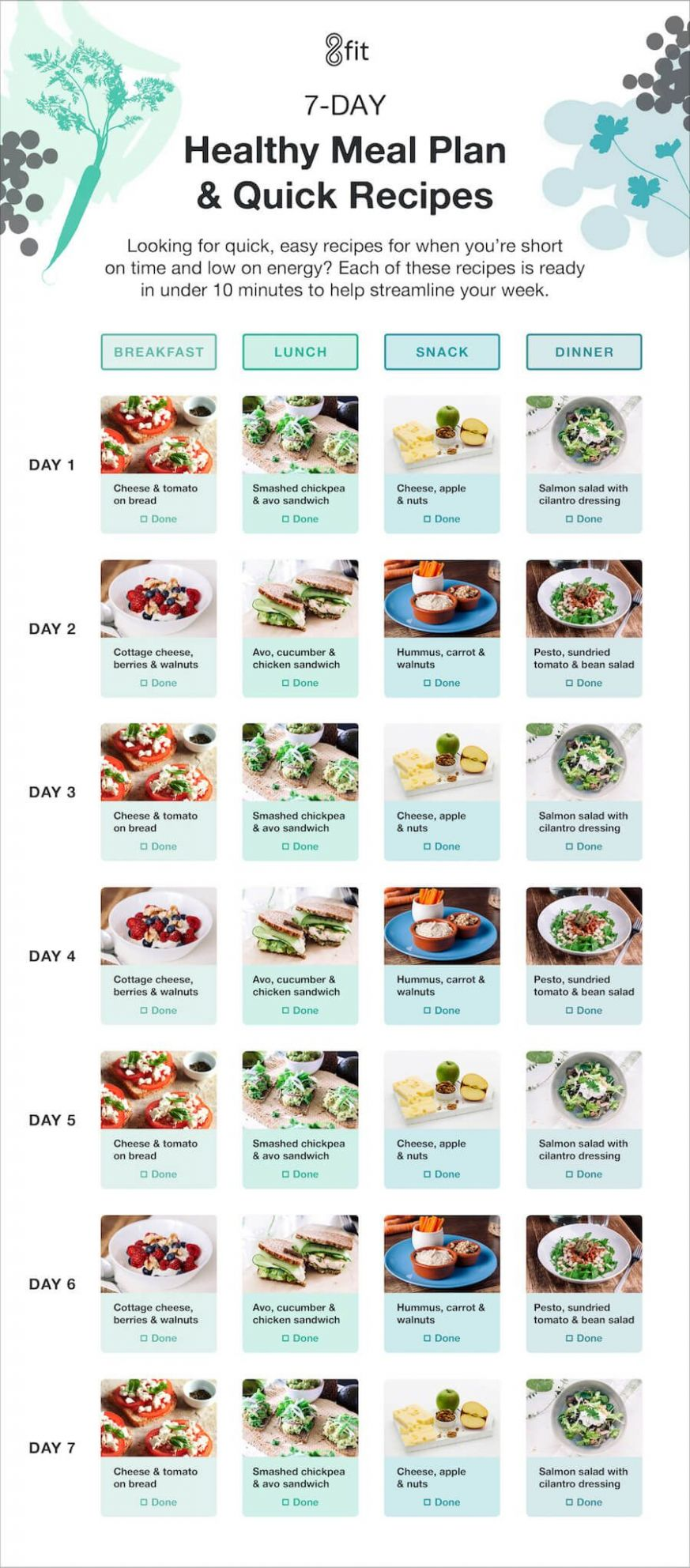12-Day Healthy Meal Planner with Grocery List and Recipes in 12 ..