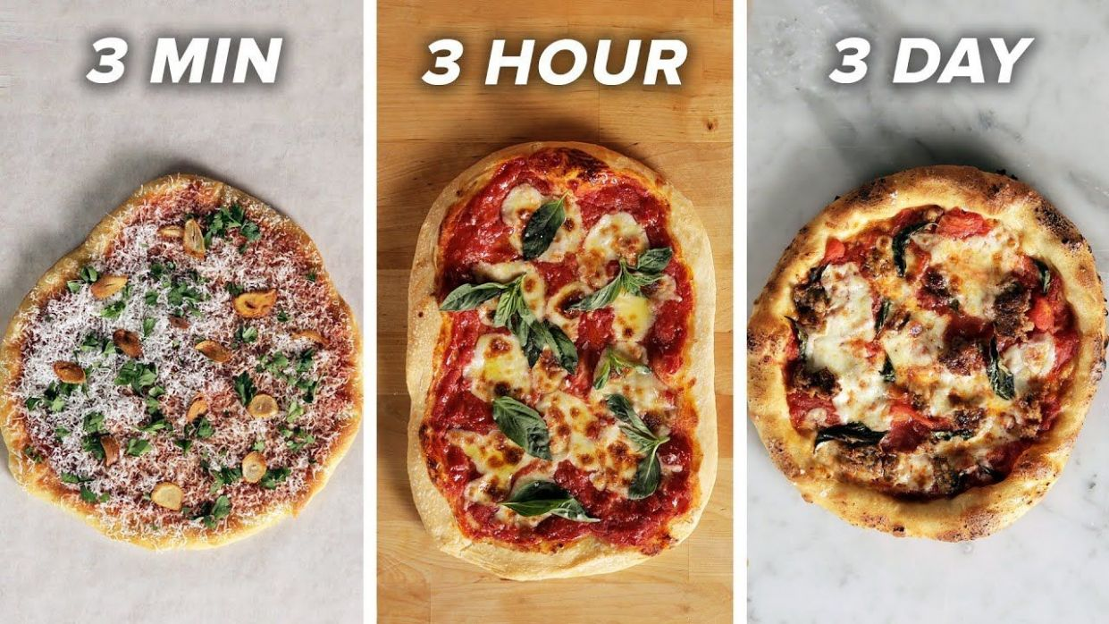12-Minute Vs. 12-Hour Vs. 12-Day Pizza • Tasty - YouTube | Pizza ...