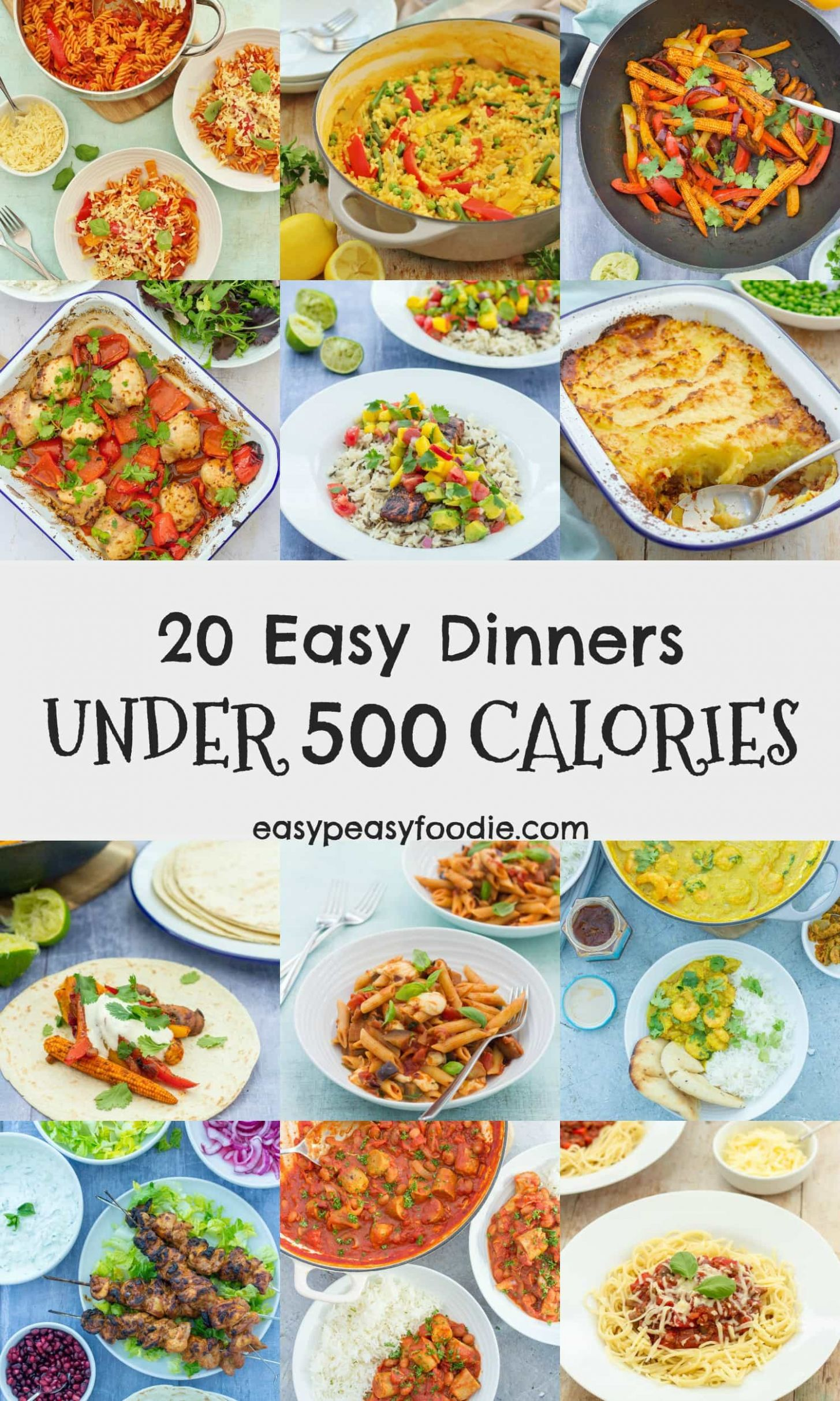 8 Easy Dinners Under 8 Calories - Easy Peasy Foodie - Salad Recipes Under 500 Calories