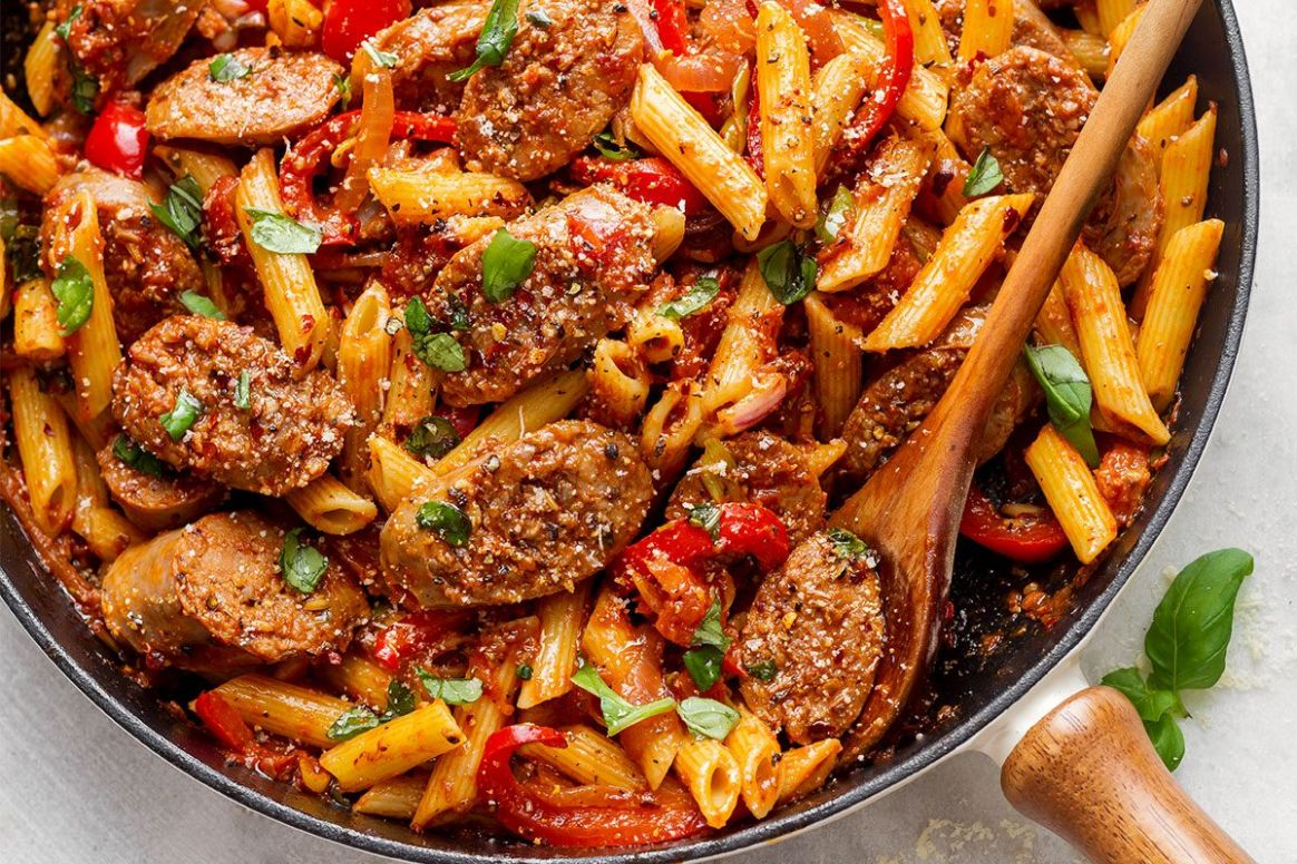 8-Minute Sausage Pasta Skillet - Recipes With Summer Sausage And Pasta