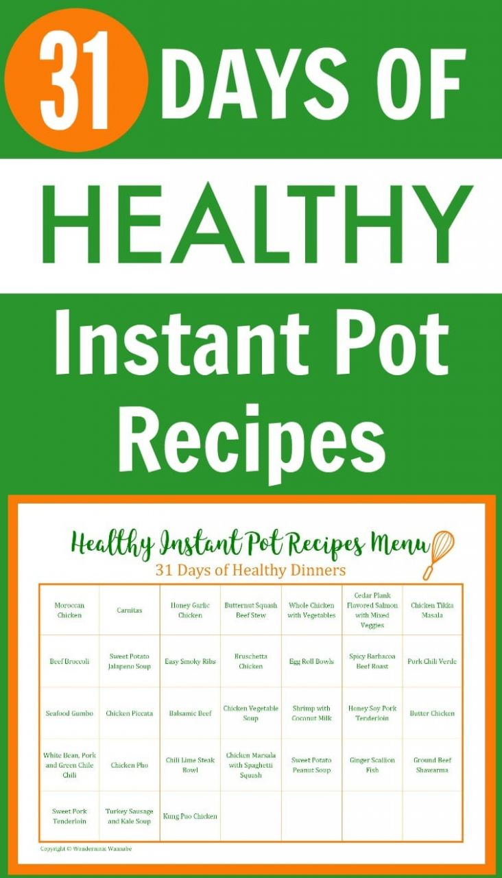 9 Day Menu of Healthy Instant Pot Recipes - Healthy Recipes Printable