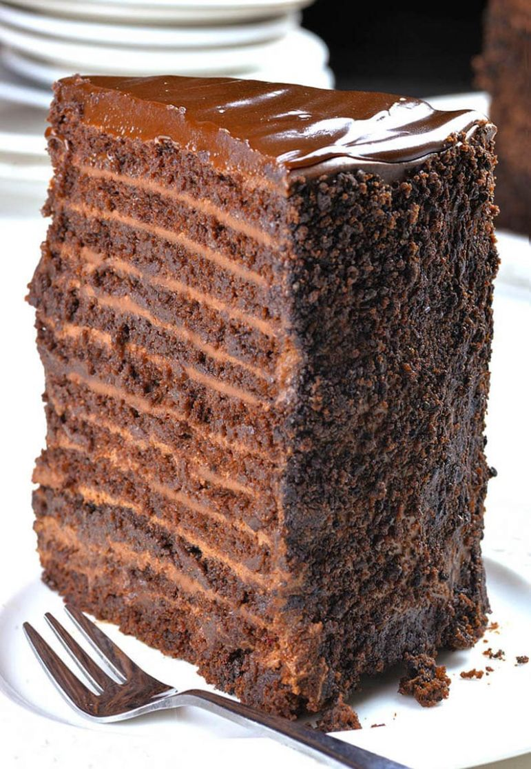 9 Layer Chocolate Cake | Chocolate Cake Recipe Topped With Ganache - Recipe Chocolate Layer Cake