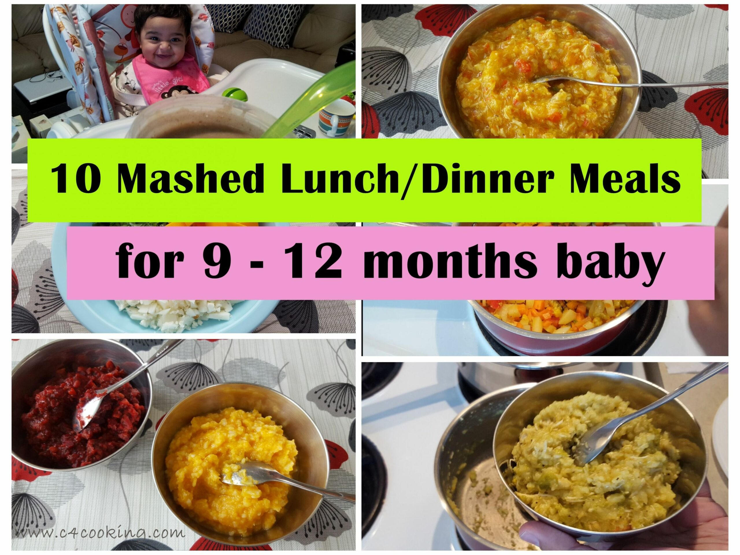 9 Mashed Meals for 9-9 months baby.. | Baby food recipes 9 9 ...
