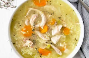 9 Minute Rotisserie Chicken and Rice Soup