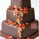 9 Tier Square Chocolate Wedding Cake With Edible Sugar Fruits And ..