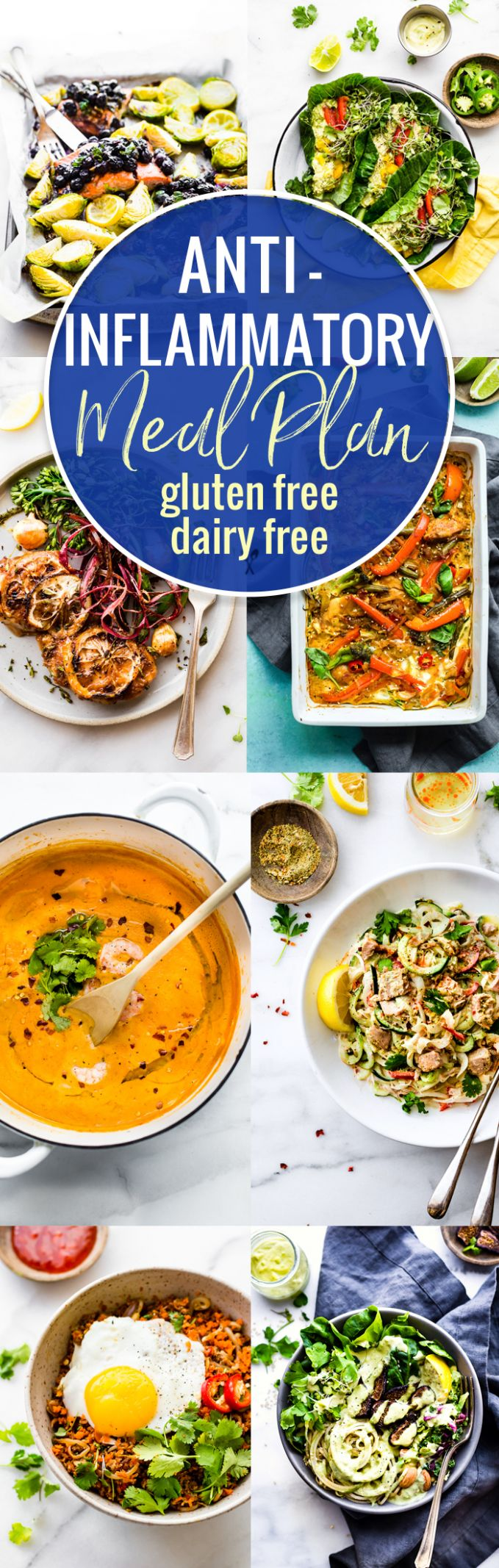 Anti-Inflammatory Meal Plan of Dairy-Free and Gluten-Free Recipes - Healthy Recipes No Dairy
