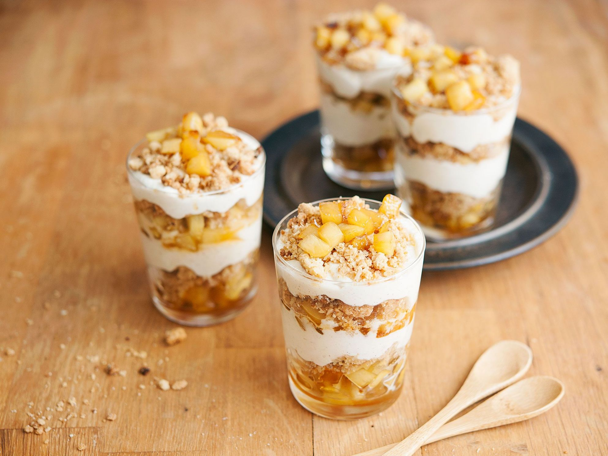 Apple crumble in a glass - Recipes Dessert Apples