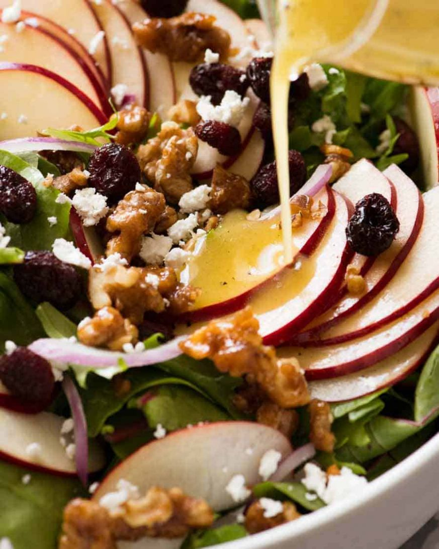 Apple Salad with Candied Walnuts and Cranberries