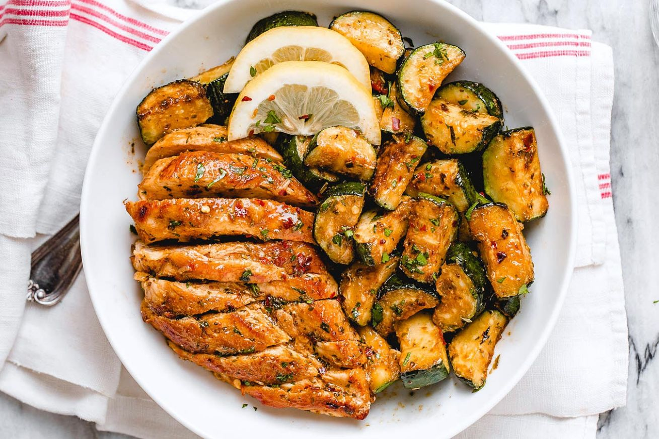 Asado Chicken and Sauteed Lemon Zucchini - Dinner Recipes With Zucchini And Chicken