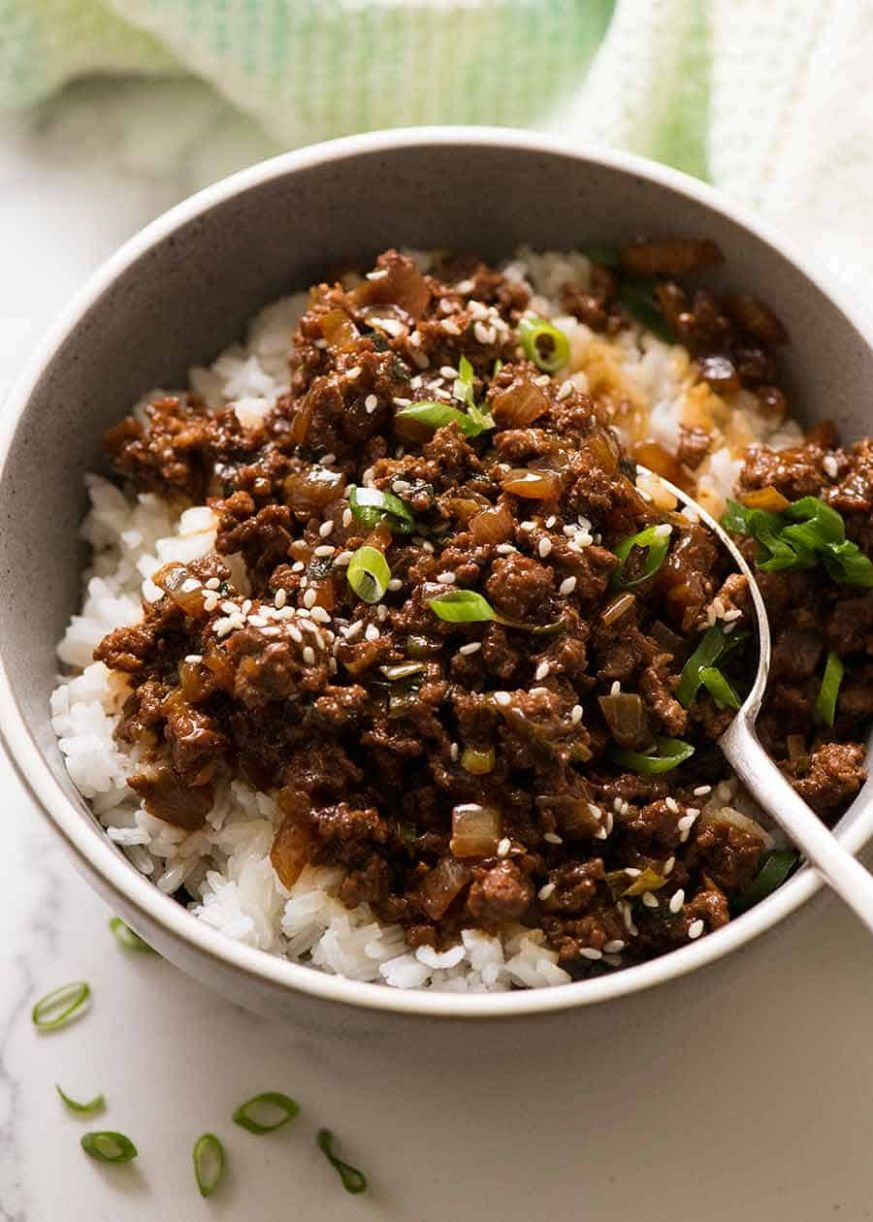 Asian Beef Bowls - Recipes Rice Mince