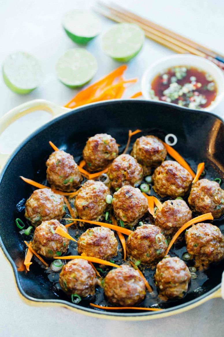 Asian Pork Meatballs - Easy Asian Meatballs for Rice or Noodle Bowls - Recipes Pork Mince Meatballs