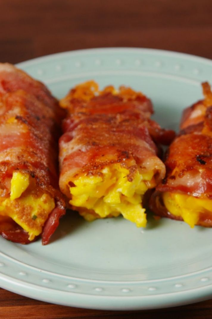 Bacon, Egg, and Cheese Roll-Ups - Breakfast Recipes With Bacon