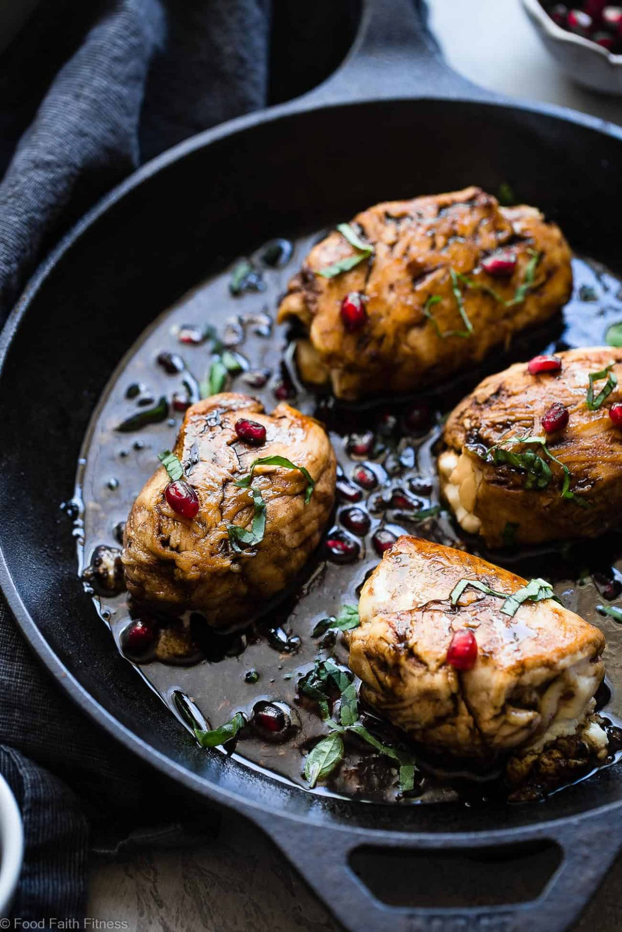 Baked Balsamic Goat Cheese Stuffed Pomegranate chicken | Food ..