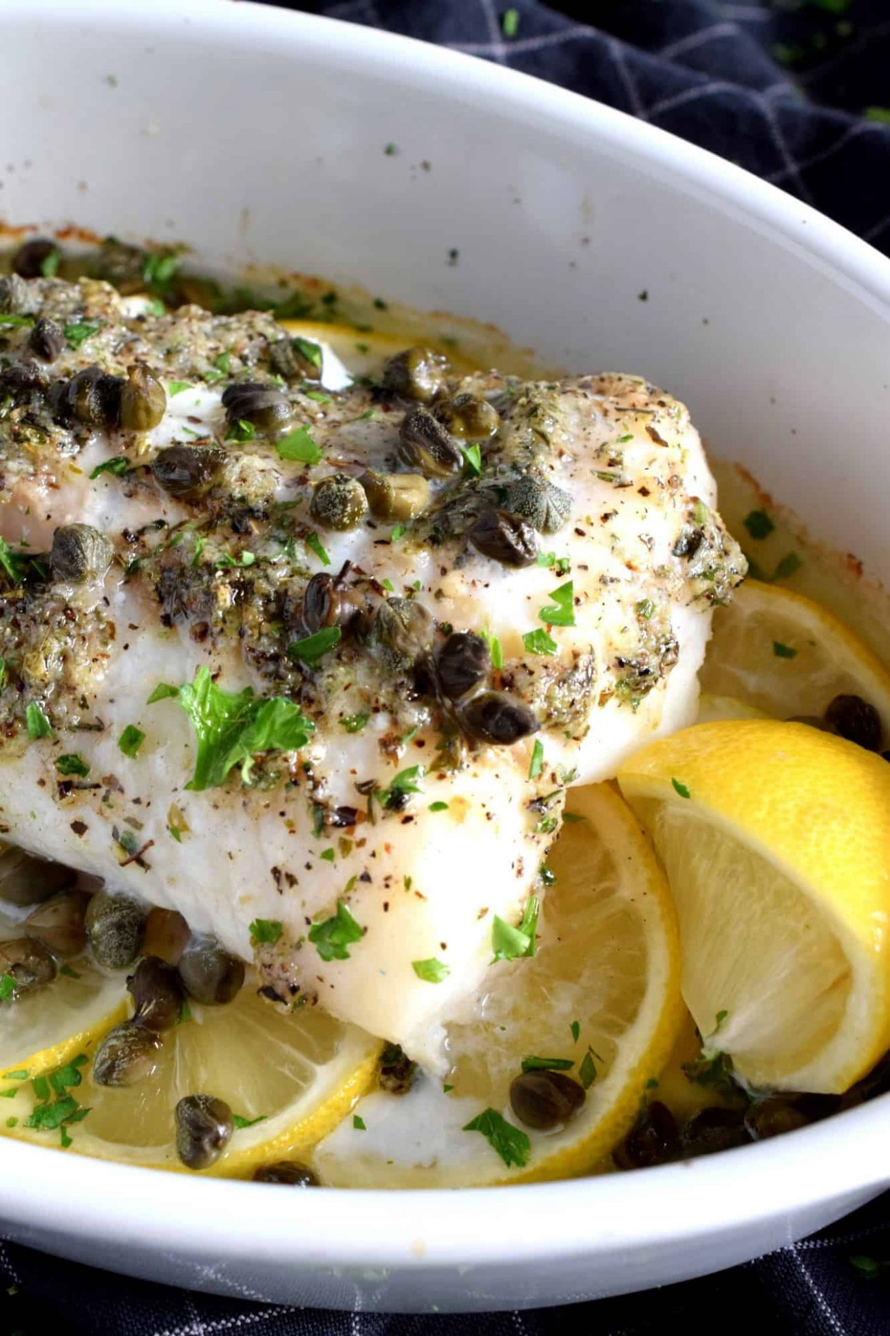 Baked Cod Fish with Lemon and Capers - Recipe Fish With Capers