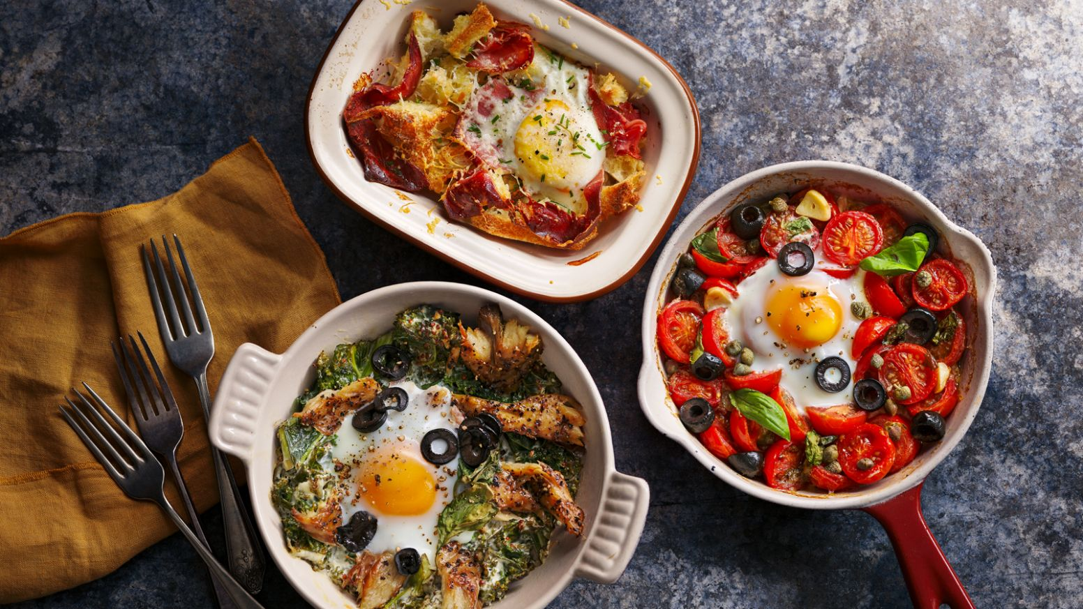 Baked eggs three ways - Egg Recipes Uk