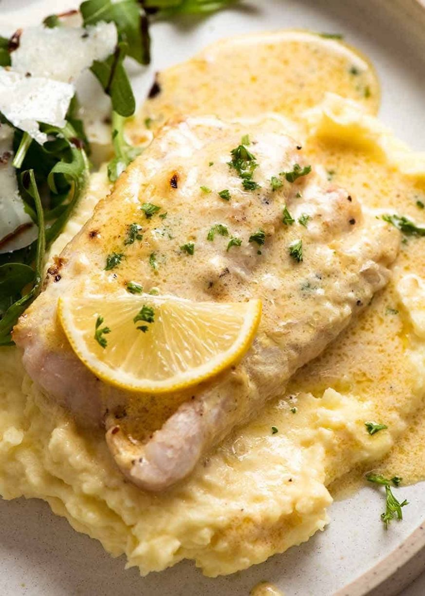 Baked Fish with Lemon Cream Sauce (One Baking Dish!) - Recipe Fish With Lemon Butter Sauce
