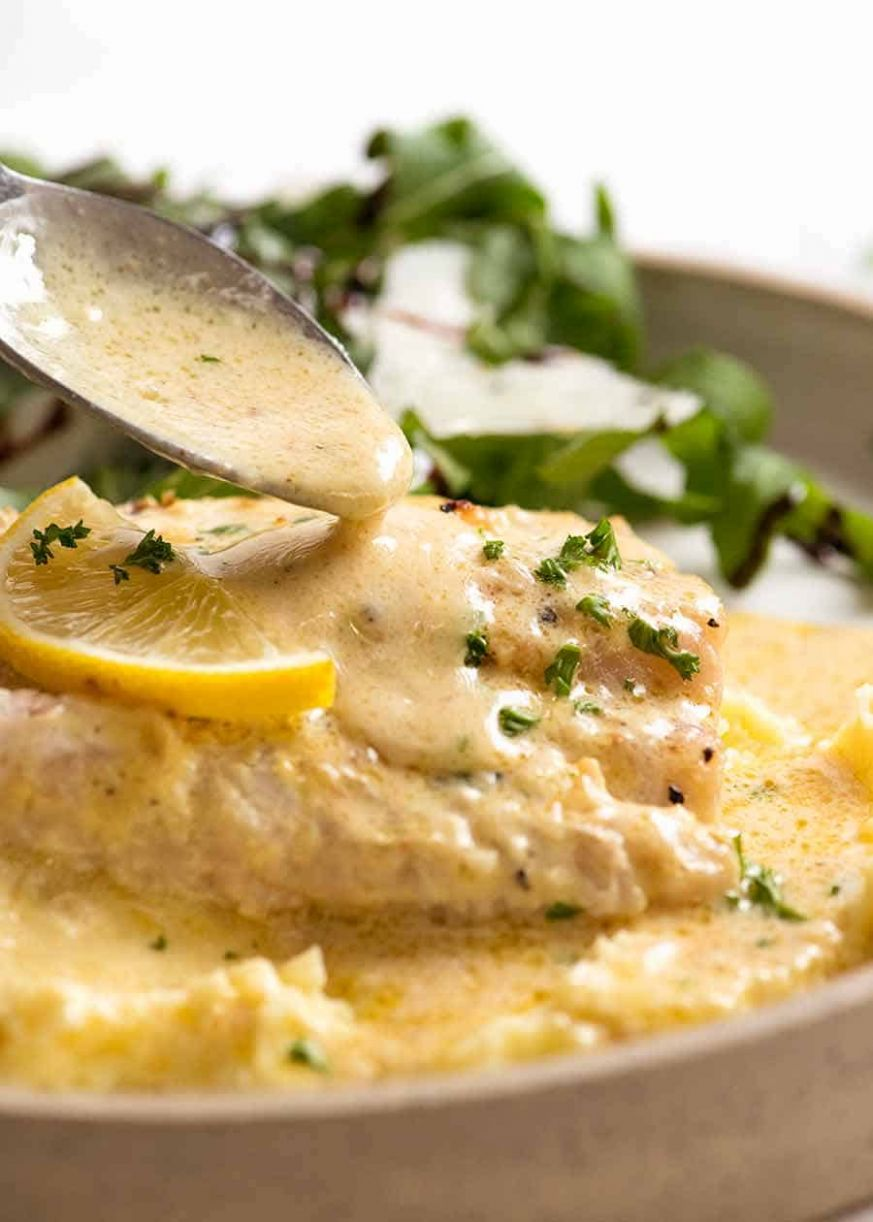 Baked Fish with Lemon Cream Sauce | RecipeTin Eats