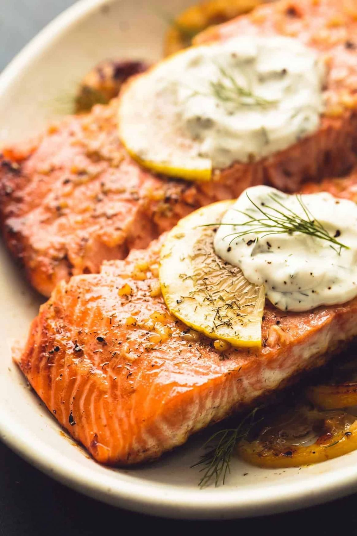Baked Salmon with Creamy Lemon Dill Sauce - Recipe Fish Dill