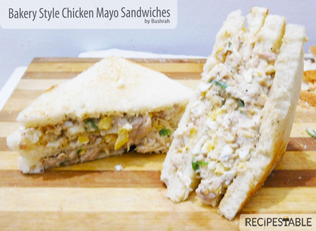 Bakery Style Chicken Mayo Sandwiches Recipe - Recipestable - Sandwich Recipes With Mayonnaise