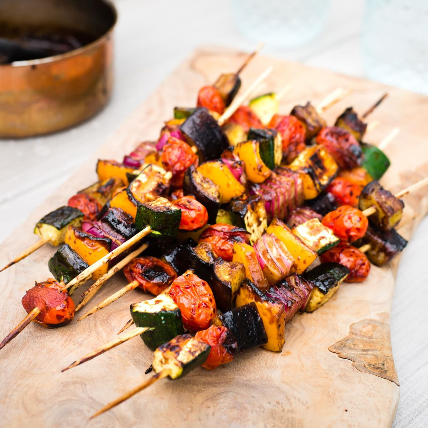 Balsamic Glazed Veggie Kebabs - Recipe Vegetarian Kebabs