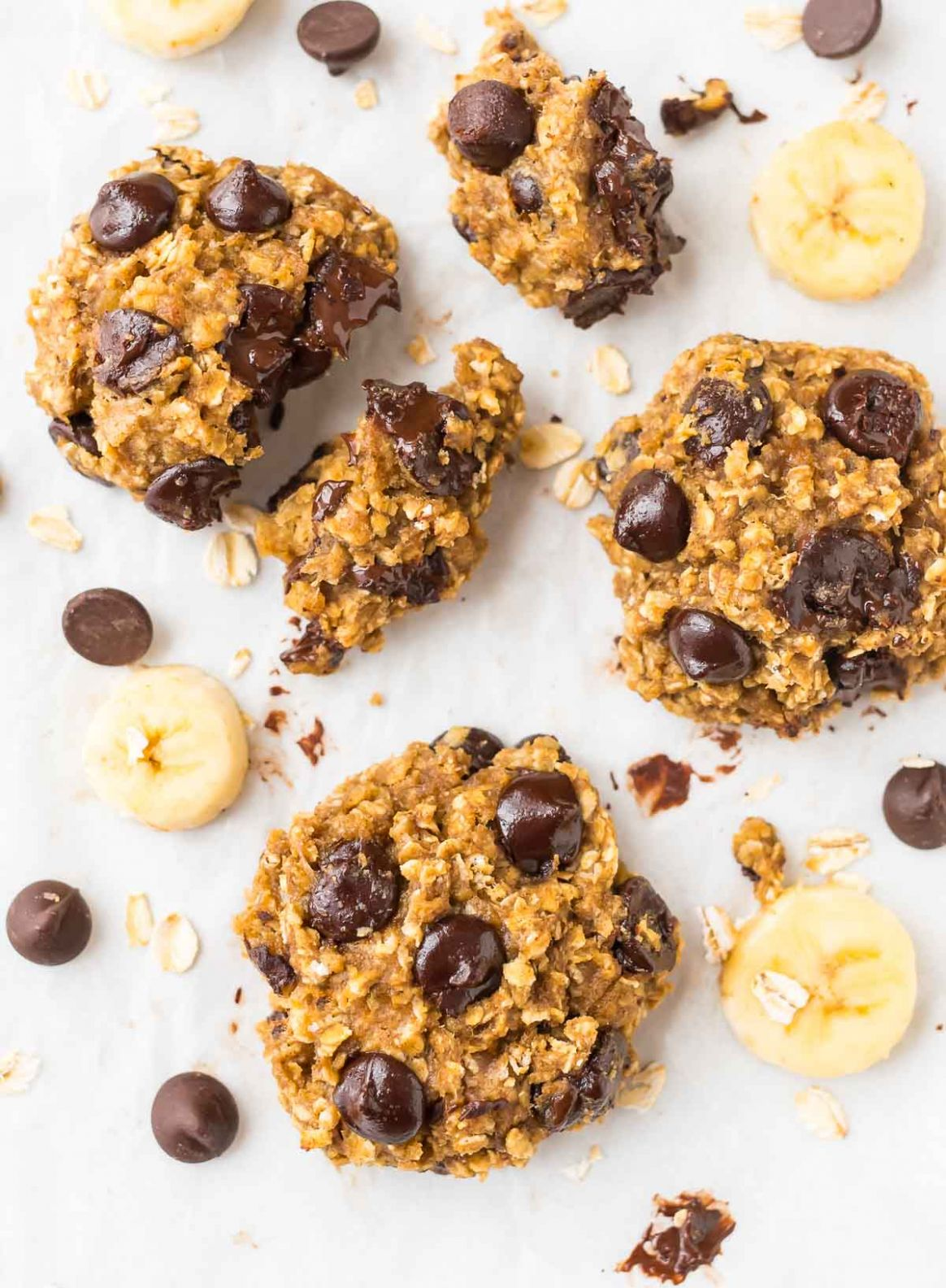 Banana Oatmeal Cookies with Chocolate Chips - Healthy Recipes Cookies