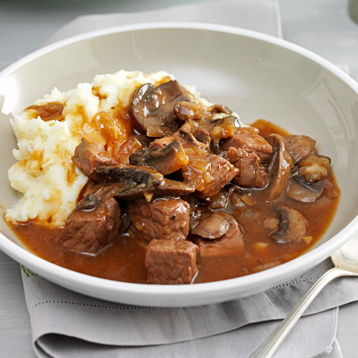 Beef & Mushroom Braised Stew - Recipes With Beef Cubes