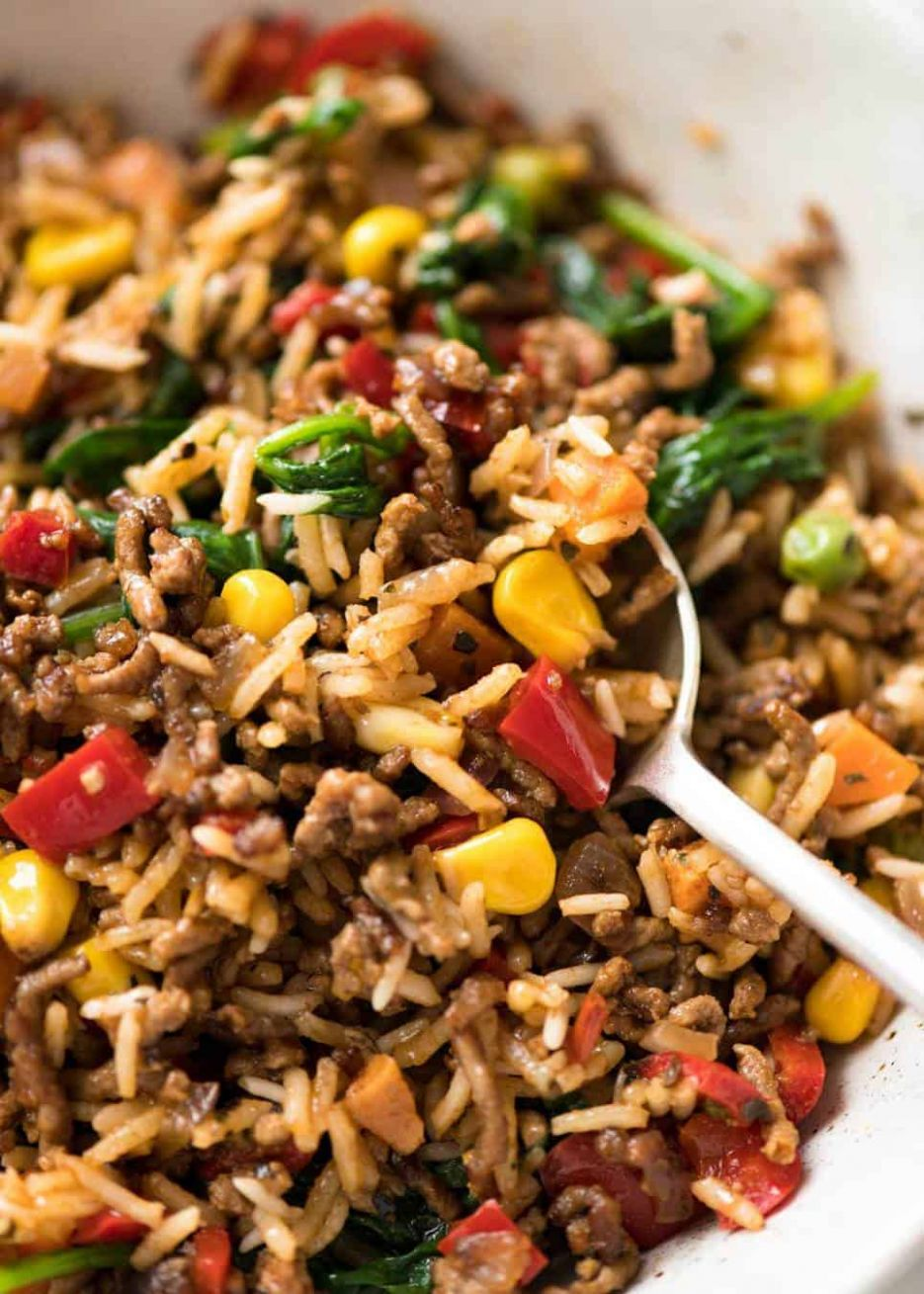Beef and Rice with Veggies - Ground Beef Recipes Quick
