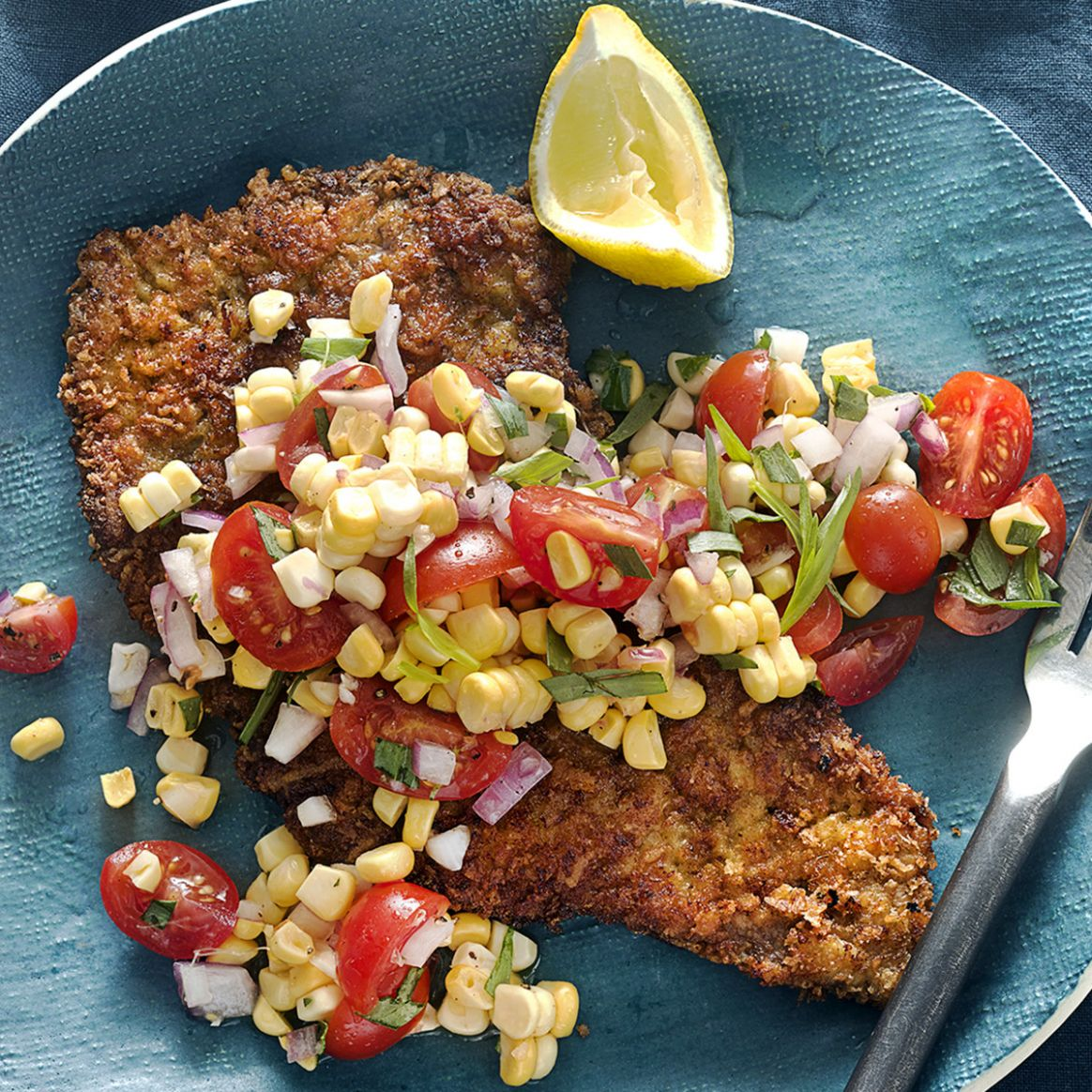 Beef Milanese with Fresh Corn & Cherry Tomatoes - Recipes Beef Milanesa