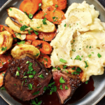 Beef Tenderloin With Brown Butter Roasted Veggies And Cheesy Mashed Potatoes – Dinner Recipes Gourmet