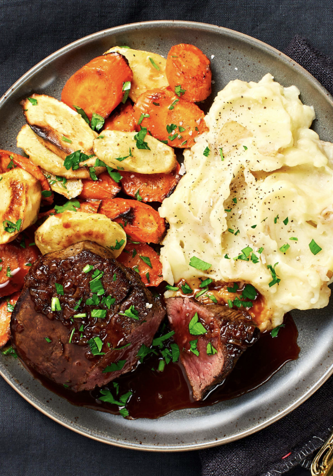 Beef Tenderloin with Brown Butter Roasted Veggies and Cheesy Mashed Potatoes - Dinner Recipes Gourmet