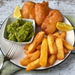 "Beer Battered Halloumi With Chips And ""mushy"" Peas – The Circus Gardener s  Kitchen – Recipes Fish Halloumi"