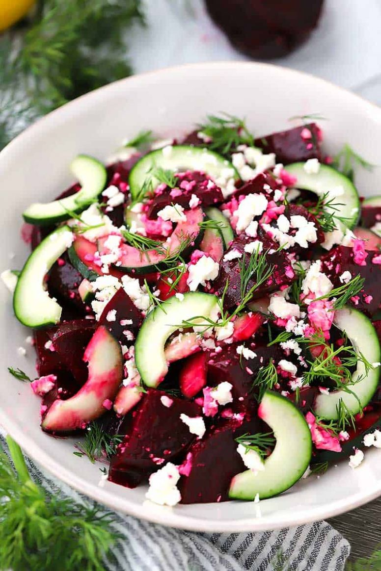 Beet Salad with Feta, Cucumbers, and Dill - Easy Recipes Using Canned Beets