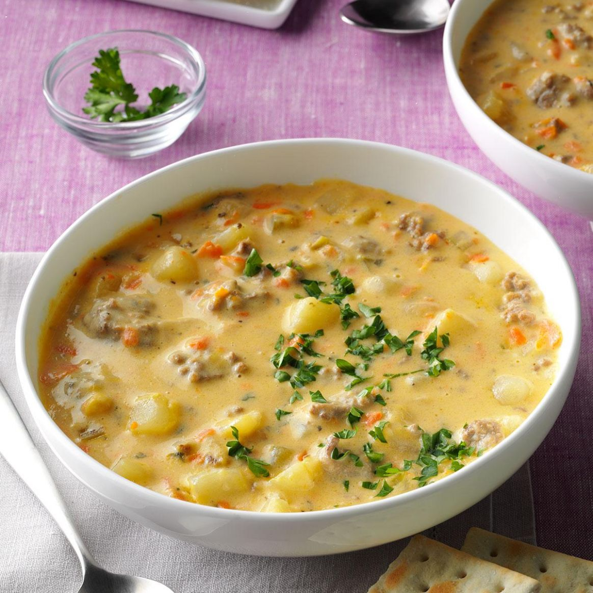 Big Batch Cheeseburger Soup - Soup Recipes Using Ground Beef