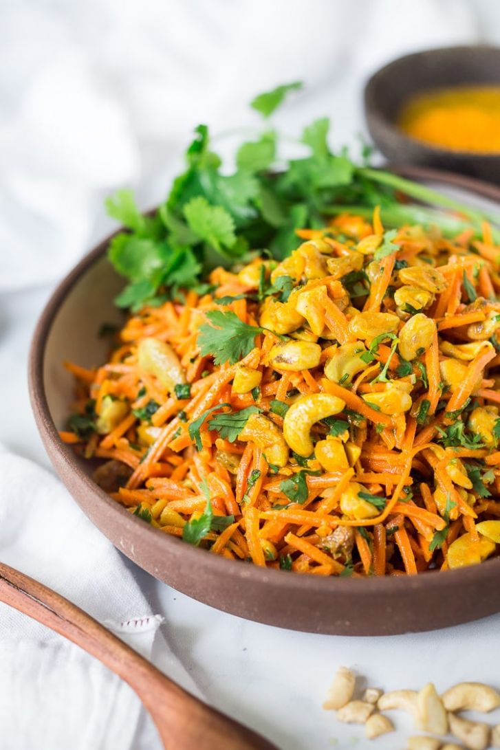 Bombay Carrot Salad with Cashews and Raisins | Feasting At Home - Healthy Recipes Indian Veg