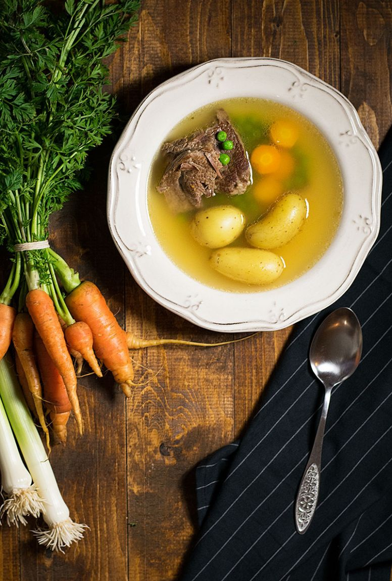 Bone broth soup with beef and vegetables - Recipes Using Beef Broth
