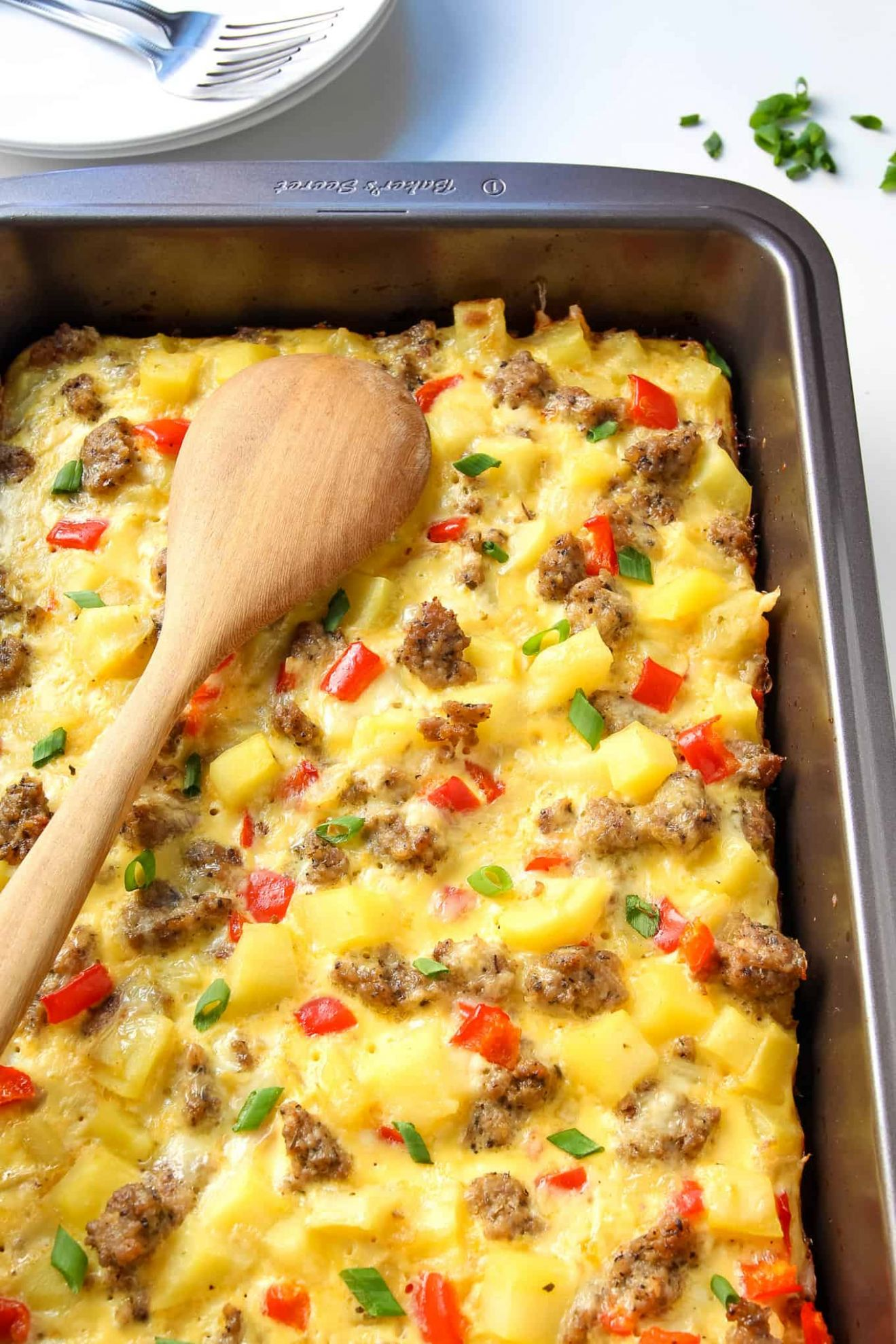 Breakfast Casserole with Eggs, Potatoes and Sausage - Recipes Egg Casserole With Sausage
