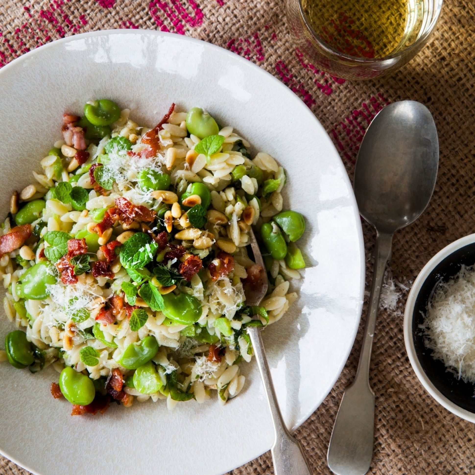 Broad Bean and Mint Risoni with Crispy Bacon - Salad Recipes Nadia Lim