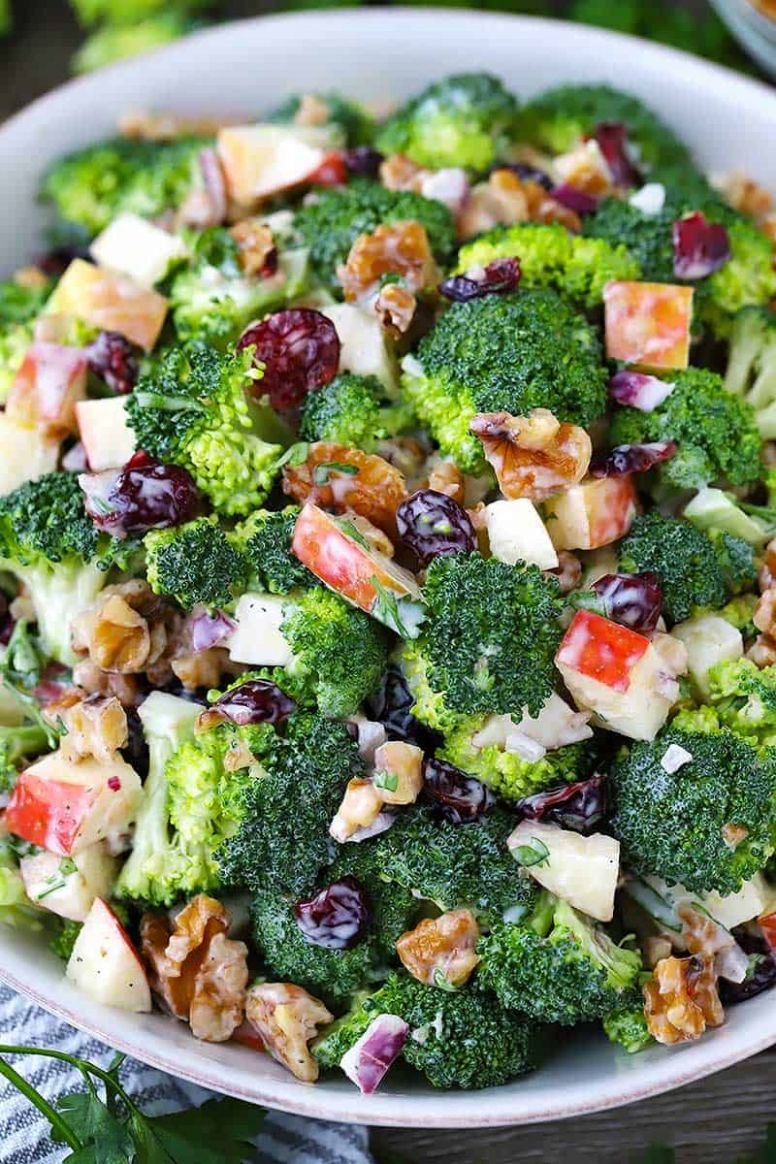 Broccoli Salad with Apples, Walnuts, and Cranberries - Salad Recipes You Can Make Ahead