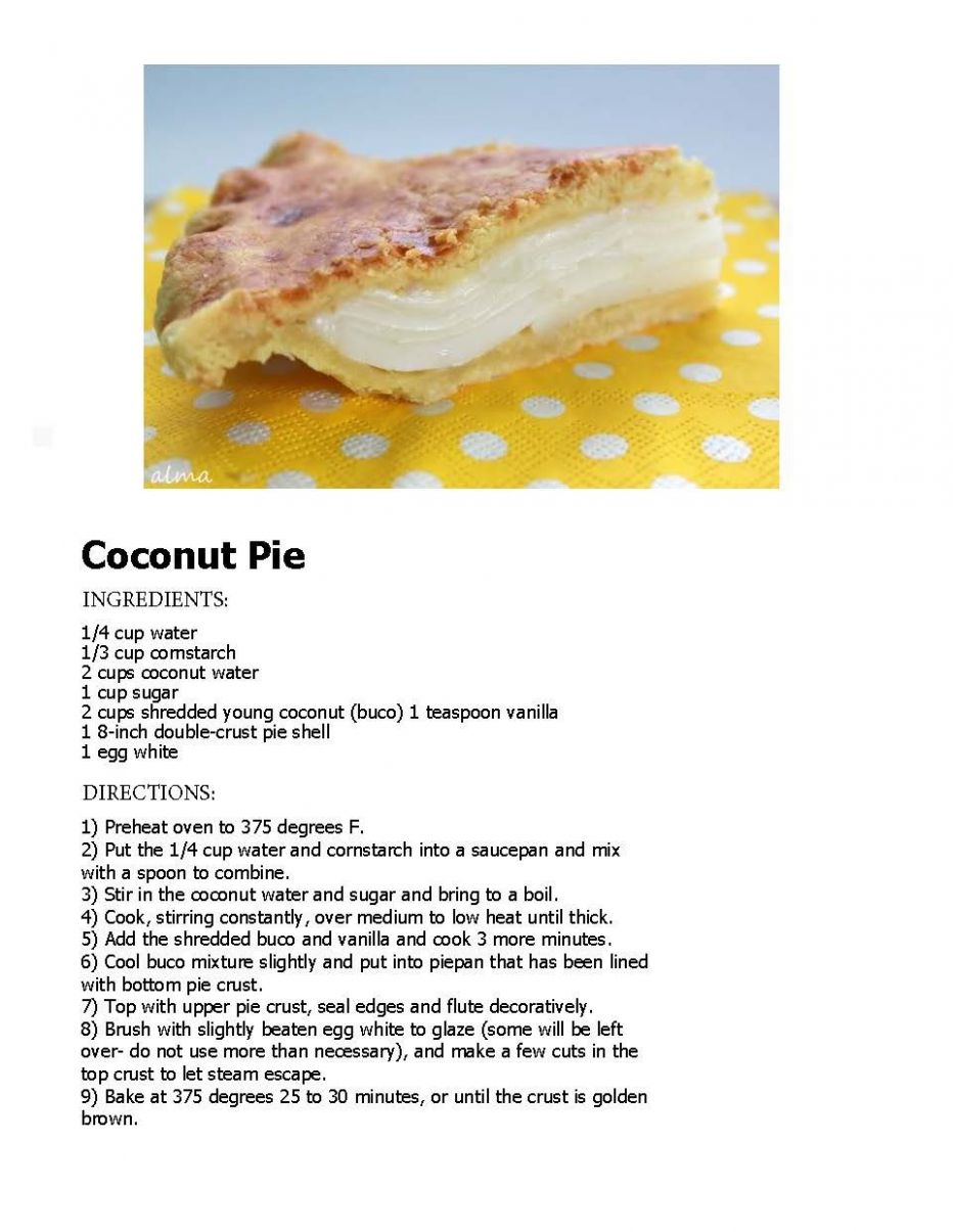 Buco (young Coconut) Pie - Dessert Recipes Ingredients And Procedure