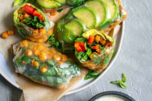 Buffalo Chickpea Rice Paper Wraps with Tahini Ranch Dip • The ...