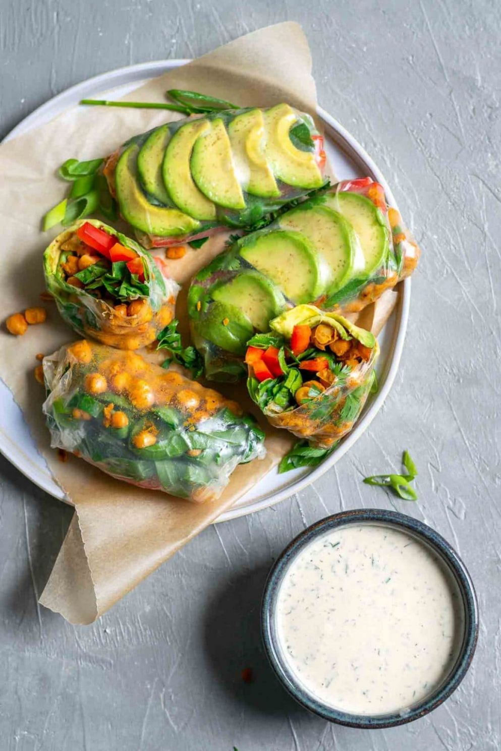 Buffalo Chickpea Rice Paper Wraps with Tahini Ranch Dip • The ..