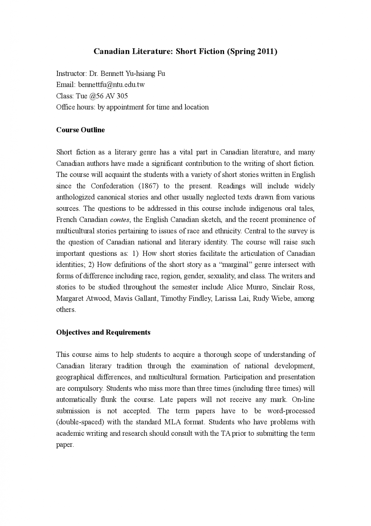 Canadian Literature Short Fiction (Spring 8) - Lecture Notes ..