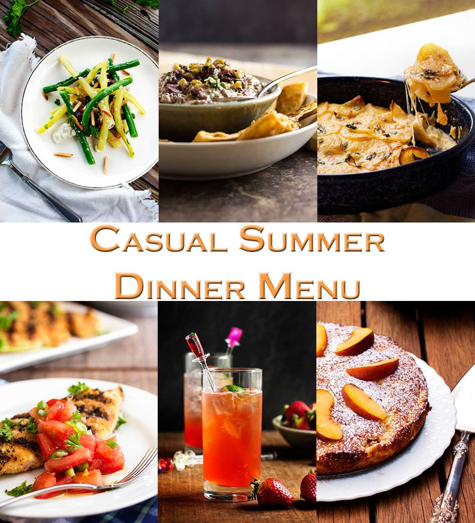 Casual Summer Dinner Menu with Friends - Just a Little Bit of Bacon - Summer Recipes Make Ahead