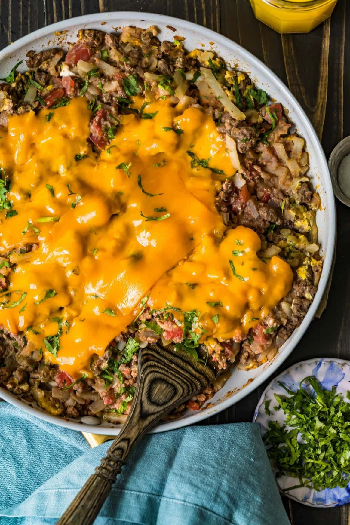 Cheesy Beef Breakfast Scramble