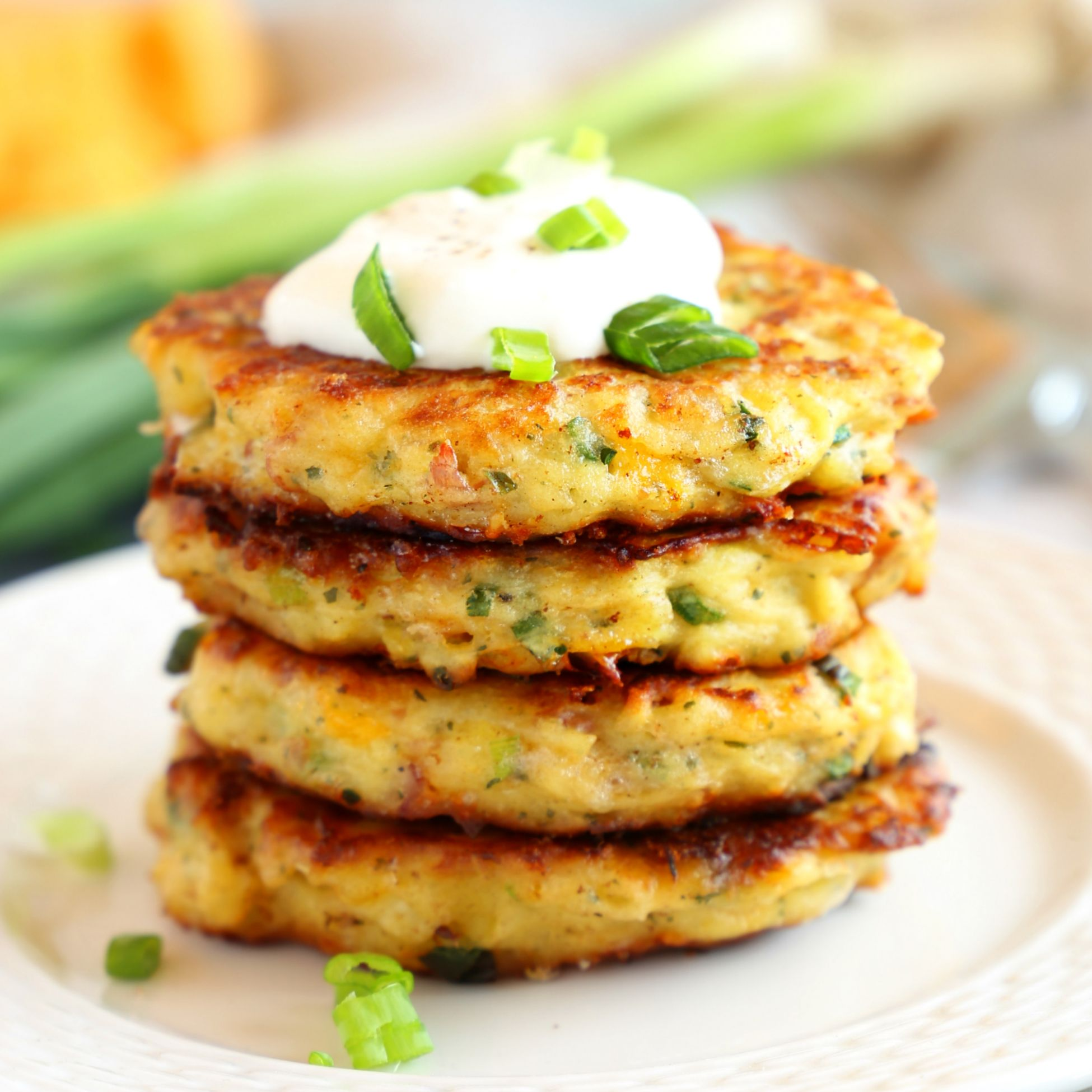 Cheesy Leftover Mashed Potato Pancakes - Recipes Potato Pancakes