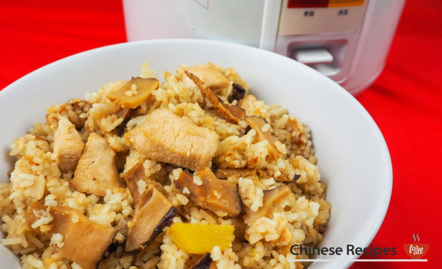 Chicken and Chinese Mushroom Rice [Rice Cooker Recipe] - Recipes Rice Cooker Meals